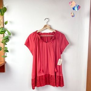 St. John's Bay Red Short Sleeve Lace Bottom Top